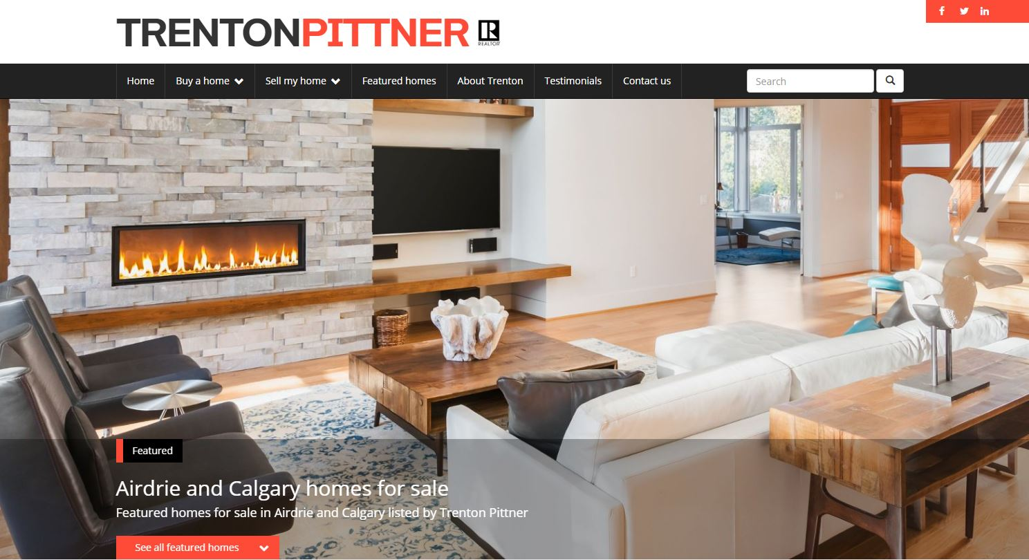 New website for top Airdrie and Calgary Realtor Trenton Pittner