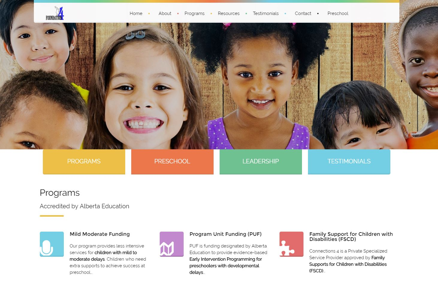 New website for Airdrie Foundation 4 Early Intervention, early childhood services program, Airdrie