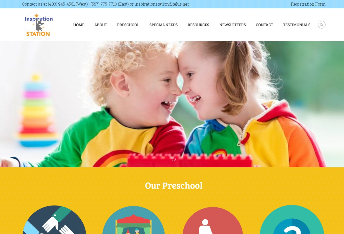 New website for Inspiration Station, Airdrie preschool