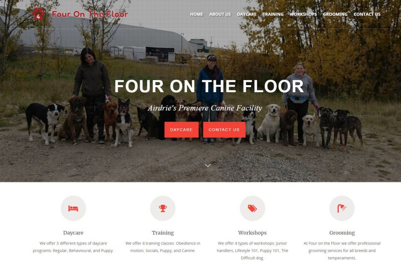 New website for Four on the Floor, Airdrie's premier canine facility