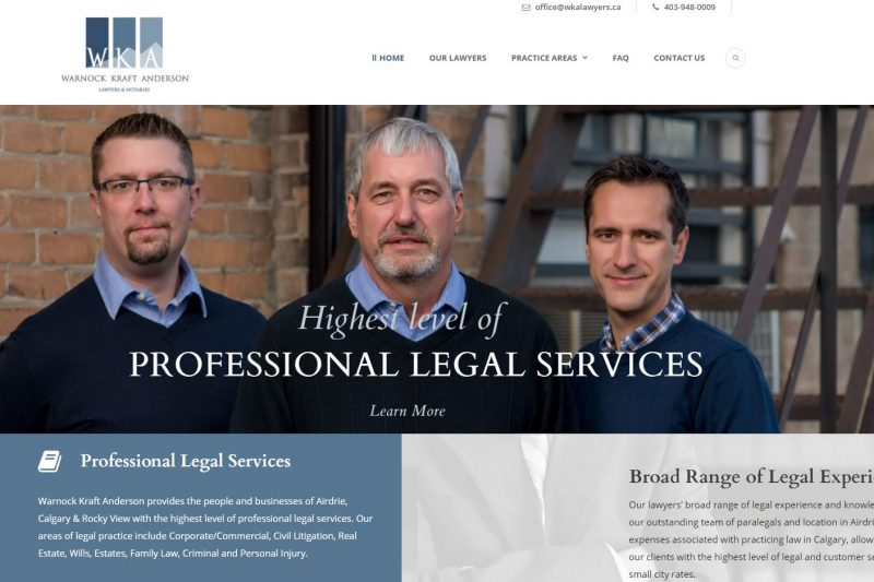 New website for WKA (Warnock Kraft Anderson), Lawyers and Notaries, Airdrie