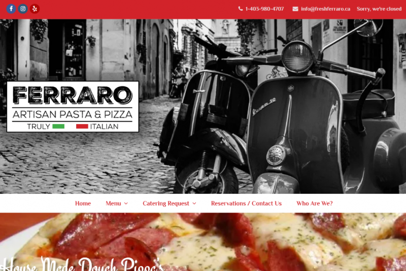 New Website for Ferraro Truly Italian located in Airdrie.